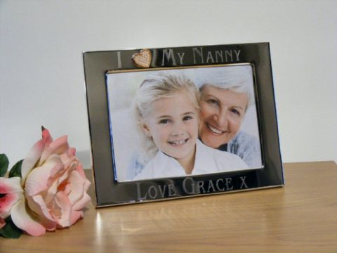 Personalised Gold Heart Photo Frame I Love My Nanny Grandma Gift